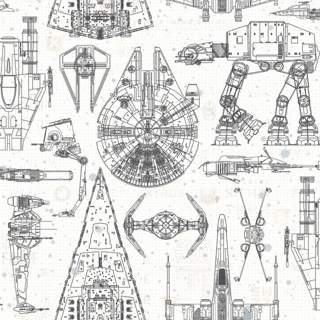STAR WARS BLUEPRINT PEEL & STICK WALLPAPER