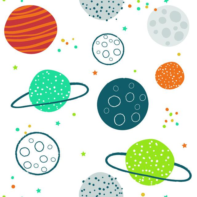 COLORFUL PLANETS PEEL & STICK WALLPAPER