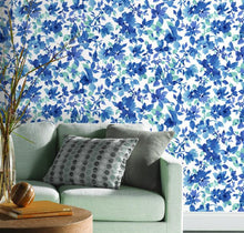 Load image into Gallery viewer, WATERCOLOR FLORAL PEEL & STICK WALLPAPER