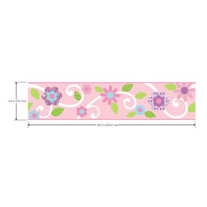 SCROLL FLORAL BDR.(PINK W/WHT)