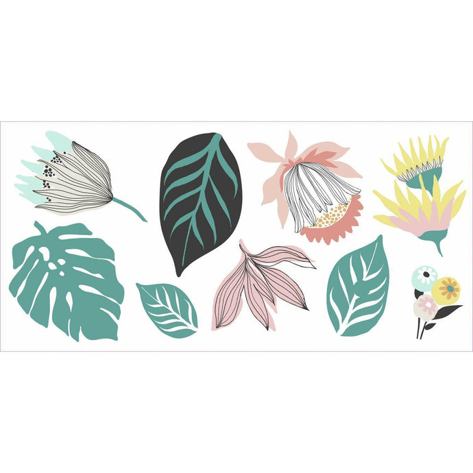 TROPICAL LEAVES PEEL AND STICK GIANT WALL DECALS