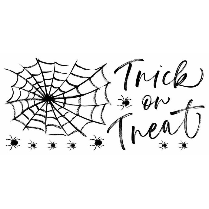 HALLOWEEN TRICK OR TREAT SPIDER WEB PEEL AND STICK GIANT WALL DECALS