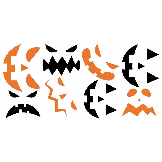 HALLOWEEN PUMPKIN FACES GLOW IN THE DARK PEEL AND STICK WALL DECALS