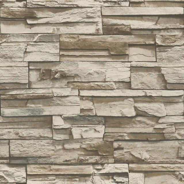 STACKED STONE GREY/BROWN PEEL AND STICK WALLPAPER
