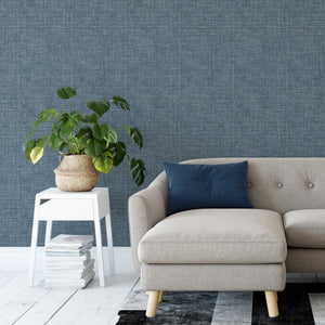 Cobalt Warp and Weft Self Adhesive Wallpaper