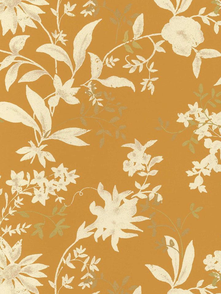 SP146711 Butterscotch bg.off white and met. Flowers