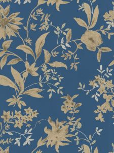 SP146712. Blue bg. Metallic flowers