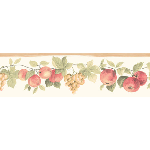 wallpaper, wallpapers, border, fruit, leaves, vines, apples, grapes, peaches, die cut