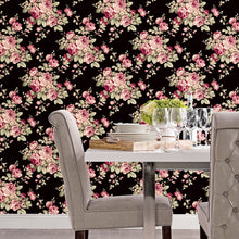 Load image into Gallery viewer, Grand Floral Wallpaper in Black, Ebony, Plum & Pinks