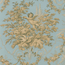 Load image into Gallery viewer, wallpaper, wallpapers, toile, floral, leaves, branches, cherub, scrolls, birds