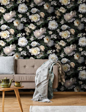Load image into Gallery viewer, BLACK PHOTOGRAPHIC FLORAL PEEL & STICK WALLPAPER MURAL
