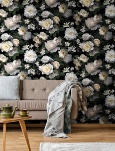 BLACK PHOTOGRAPHIC FLORAL PEEL & STICK WALLPAPER MURAL