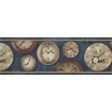 Load image into Gallery viewer, BW7744. Blue bg w/clocks