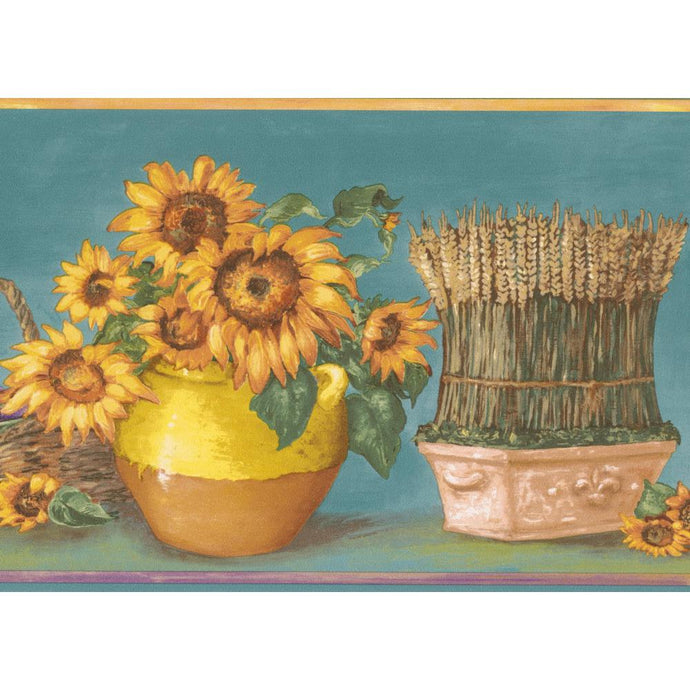 KC78060 Teal bg w/ yellow sunflowers