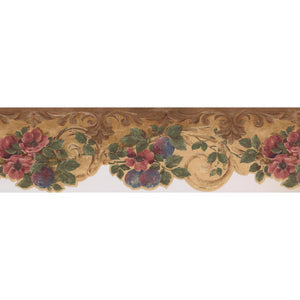 Hover Image to Zoom Pink Flowers Purple Plums Yellow Brown Damask Rustic Prepasted Wallpaper Border
