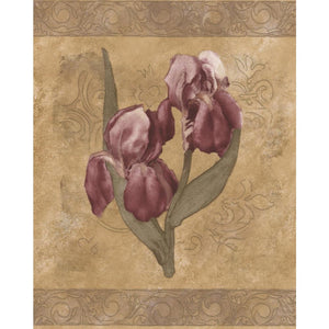 White Purple Flowers Brown Floral Prepasted Wallpaper Border