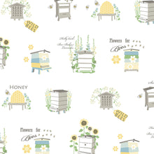 Load image into Gallery viewer, wallpaper, wallpapers, novelty, beehive, flowers, leaves, bee house, words, script, garden