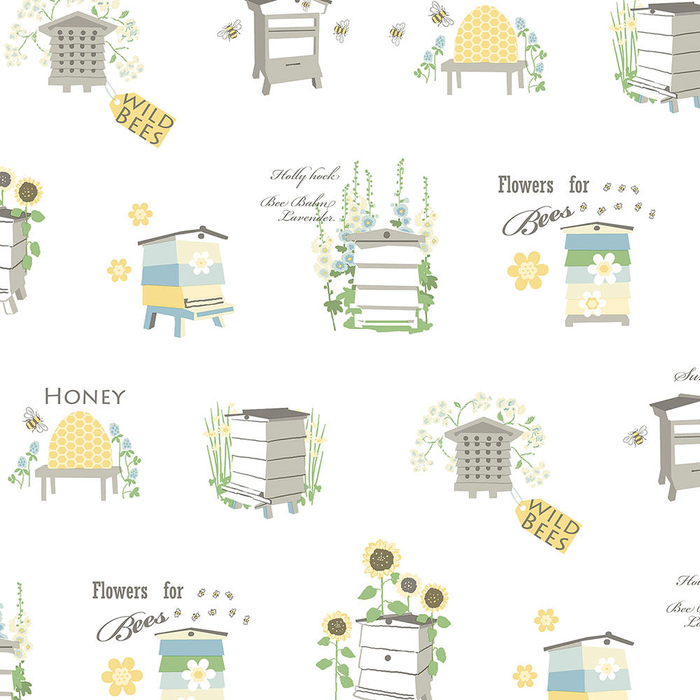wallpaper, wallpapers, novelty, beehive, flowers, leaves, bee house, words, script, garden