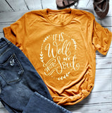 Women's It Is Well With My Soul Short Sleeve T-Shirt Yellow Shirt Camiseta Rosa Feminina Art Tops