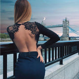 Sexy Backless Lace Patchwork Bodysuit Black O Neck Long Sleeve Slim Women Bodysuits Skinny Party Bodysuit