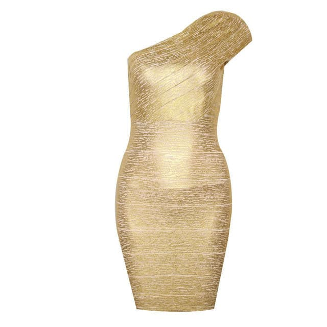 Sexy One-Shoulder Gold Bandage Dress Bodycon Club Party