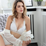 Fashion Women Black White Lace Push Up Bralette Semi-sheer Underwear Print Flower Trim Soft Halter Bra set