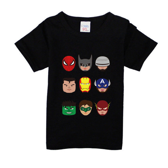 Kids Boys T Shirts Marvel Iron Man Spiderman Batman Superhero Print Children Summer Cotton Shorts Baby Boys Girls tops T shirt