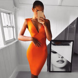 Sexy Dress Club Wear Party Dress Sleeveless Orange Wine Red Women Bandage Dresses