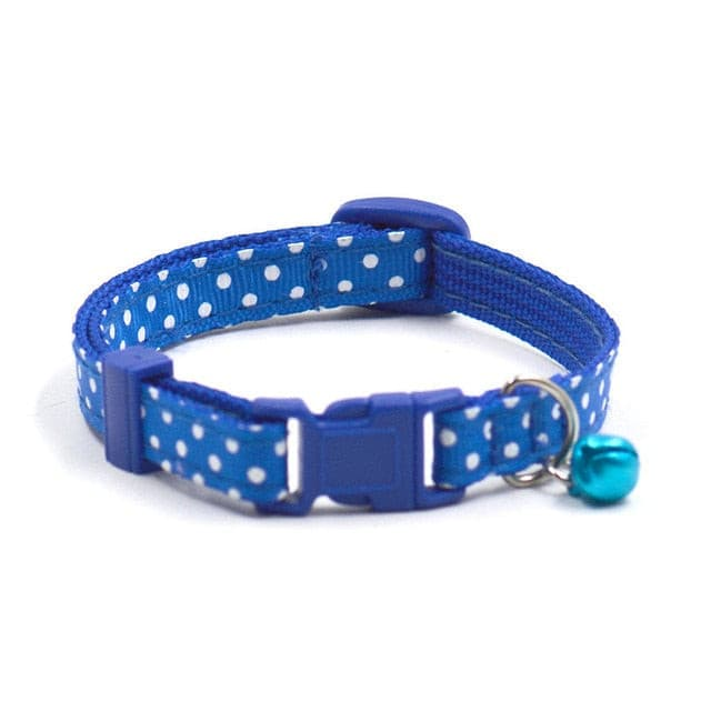 1Pc Adjustable Dot Printed Little Dog Collars Cat Puppy Pets Supplies With Bell 6 Colors blue