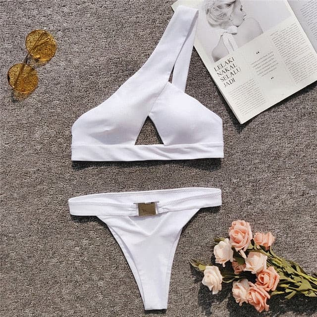 One Shoulder Bikini Buckle High Cut Swimsuit Sexy Thong Bikini Hollow Out Bathing Suit White Push Up Swimwear Women