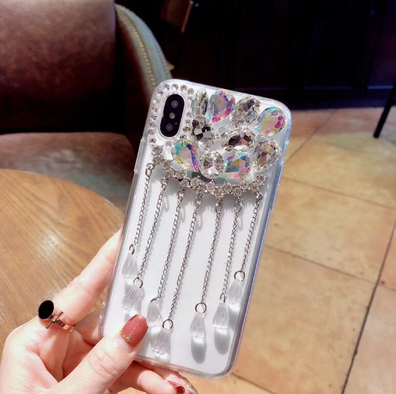 Glitter Pendant Phone Cases For iPhone Xs Max Back Cover Bling Rhinestone Case For iPhone 5s 6 6s Plus 7 8 Plus