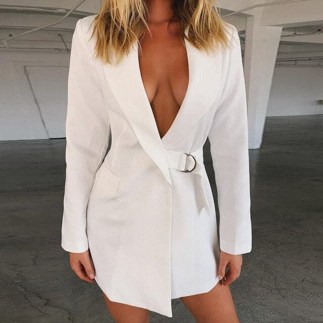 White Long Blazer Women Autumn 2019 Metal Buckle Deep V Neck Sexy Woman Suit Jacket Office Coat