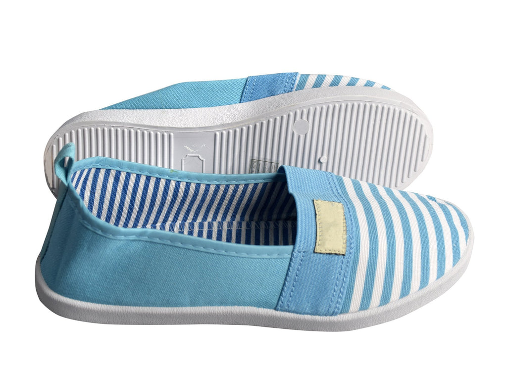 Striped Lightweight Canvas Classic Casual Slip On