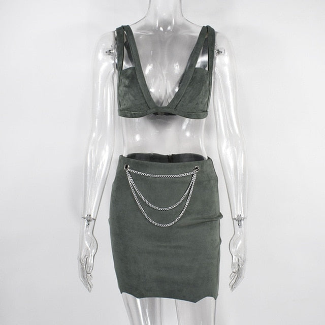 Two Piece Set 2 Piece Set Women Crop Top And Skirt Set Suede Skirt Two Piece Outfits Matching Sets Conjunto Feminino