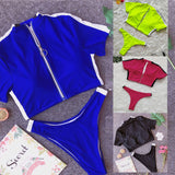 Two Piece Bikini Sport Women Swimwear Sexy Solid Surf Zipper Short Sleeve Swim Bathing Suit Tankini Set