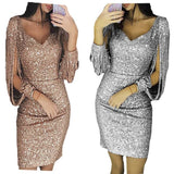 Women Knee Length Party Dress Gold Tassel Dresses Female Bodycon Long sleeve Bright Silk Shiny Dress Vestidos