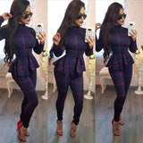 Plaid Print Bodycon Jumpsuit Women Turtleneck Long Sleeve Peplum