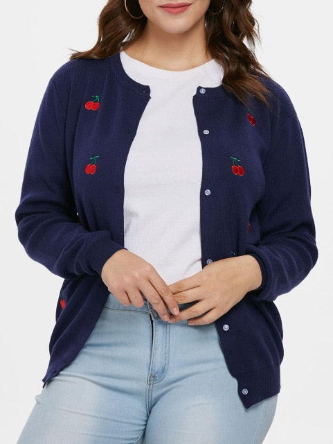 Plus Size Cherry Embroidered Buttoned Jumper Cardigan Casual Solid Single Breasted Knit Sweater Cardigan 4XL Women Coat