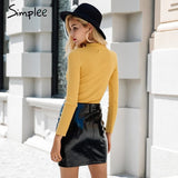 Simplee Halter long sleeve knitted sweater women tops Autumn yellow v neck short winter pullover Casual ladies jumper pull femme
