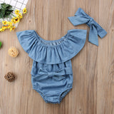 Cute Newborn Toddle Infant Baby Girls Front Bowknot Bodysuit Ruffle Sleeveless Jumpsuit Cotton Summer Outfits Clothes 0 24M