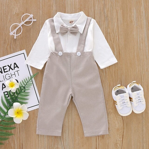 Baby Boys Bow Long Sleeved Romper Suspender Pant