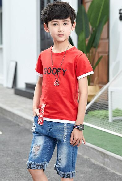 Children Clothing Boys Set Short Sleeve Ribbon Shirt Ripped Jeans Shorts Teenage Kids Boy Set