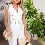 Elegant double breasted plus size jumpsuit women Summer sashes
