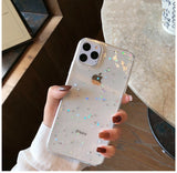 GIMFUN Star Bling Glitter Phone Case for Iphone 11 Pro Max Clear Back Love Heart tpu Case Cover for Iphone Xr X 7 6 8 Plus 5s SE