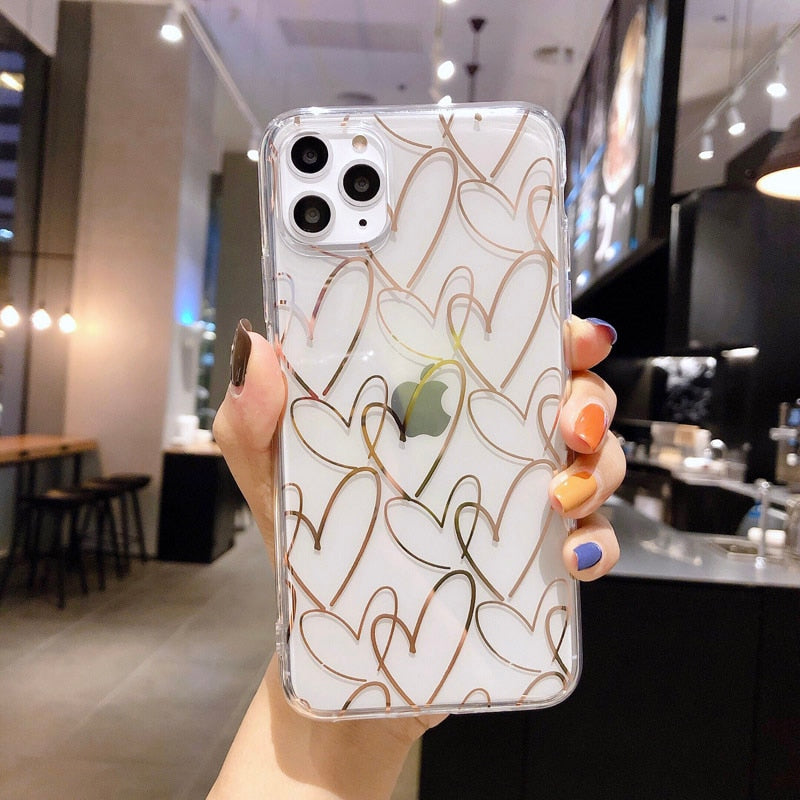 N1986N For iPhone 11 Pro X XR XS Max 6 6s 7 8 Plus Phone Case Luxury Electroplated Love Heart Clear Soft TPU Fundas For iPhone X