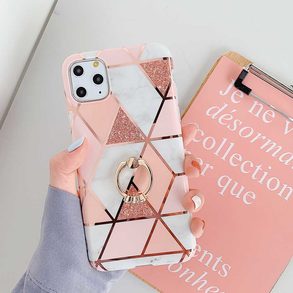 OTAO Plating Geometric Marble Case For iphone 11 2019 Pro max XS XR X 8 7 6 6S Plus Ring Holder Case Glossy Soft IMD Back Cover