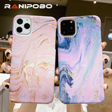 Painting Artistic Marble Texture Phone Case For iPhone 11 XR XS X XS Max 7 8 6 6S Plus Ultra Slim Hard PC Protection Back Cover