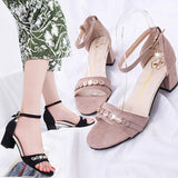 Women Fashion Solid Round Toe Crystal Wedges Hasp
