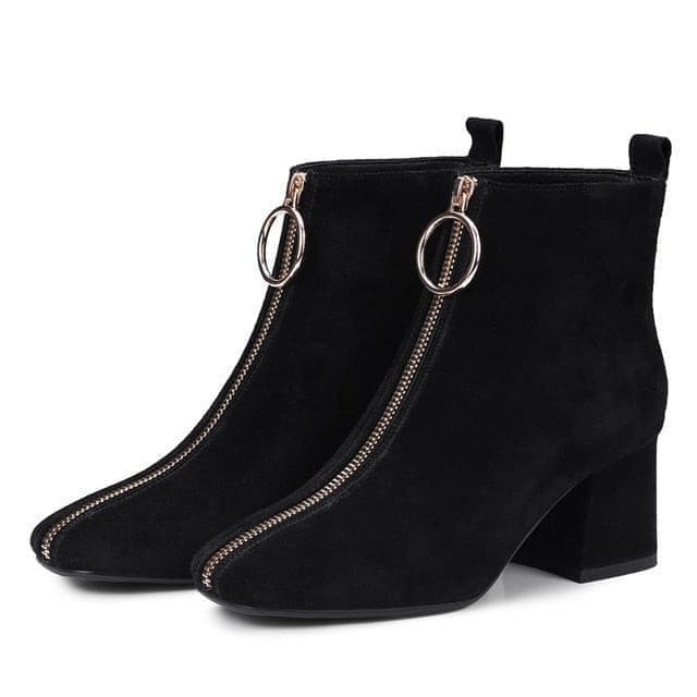 VANKARING autumn winter women boots brand shoes woman suede leather ankle boots black gray zipper high heels ladies riding boots