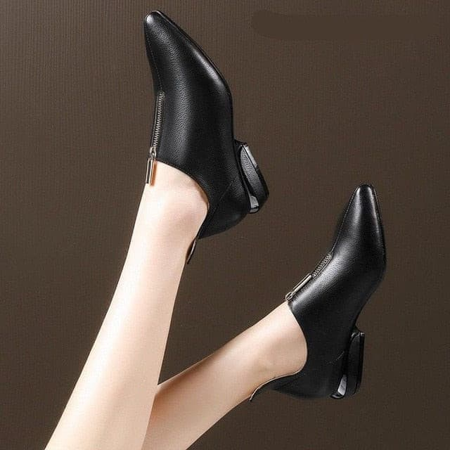 Zanpace New 2019 Spring Women Boots Thick Heel Flat Boots anti-slip Women Ankle Shoes Autumn Fashion Leather Boots Size 35-40